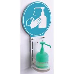 Support mural pour gel hydroalcoolique avec communication pictogramme