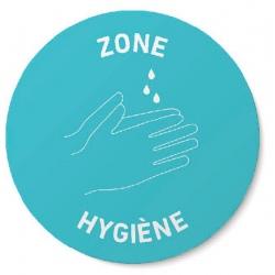 """Signalétique de sol adhésive """"Zone Hygiène""""  Ø40 cm (le lot de 50)"""