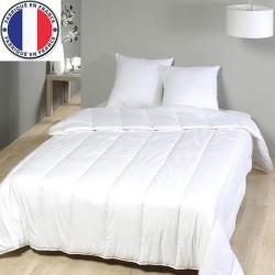 Lot de 7 couettes blanches coton et fibres creuses 300 gr gr 140 x 200 cm