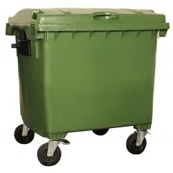 Bac roulant de collecte 100% recyclable 1000 L corps vert couvercle vert