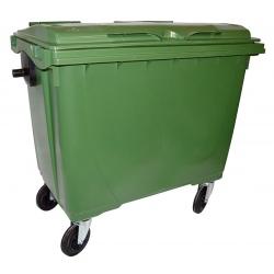 Bac roulant de collecte 100% recyclable 660 L corps vert couvercle vert