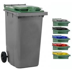 Bac roulant de collecte 100% recyclable 240 L corps gris
