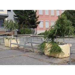 Jardinière aspect pierre anti-chocs 120 x 80 x H70 cm