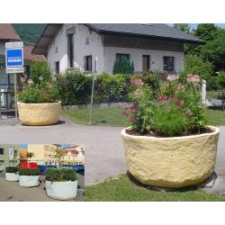 Jardinière aspect pierre anti-chocs diam 150 x H80 cm