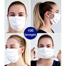 Lot de 100 masques en tissu avec élastique 100 lavages Catégorie 1