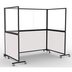 Cloison mobile acier émaillé blanc et verre sécurit H200xL205 cm