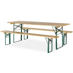 Ensemble Horn Eco : 1 table 220x70 cm et 2 bancs