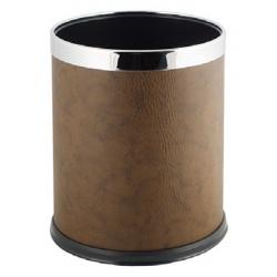 Poubelle de bureau en inox et similicuir brun 9 L
