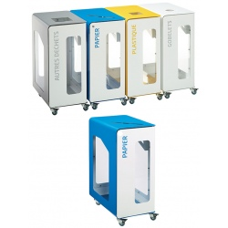 Poubelle de tri sélectif Vigipirate mobile 90L blanc papier sans serrure