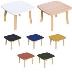 Table basse pieds bois massif plateau MDF 60 x 60 cm