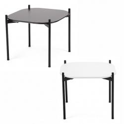 Table basse pieds acier noir mat et plateau MDF L50 x P50 cm