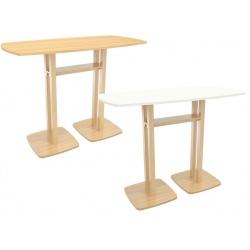 Table de réunion haute pied bois massif et plateau mélaminé L150 x P75 x H110 cm