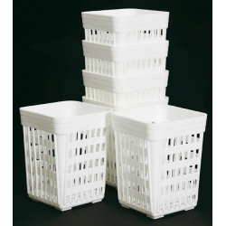 Godet à couverts carré en polypropylène blanc 10,7 x 10,7 x H13,5 cm
