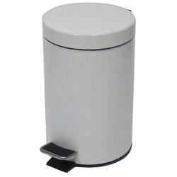 Lot de 4 poubelles  à pédale métal coloris blanc 5 L