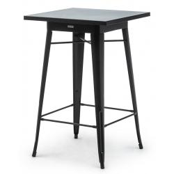Table haute de restaurant Atelier en acier noir 70 x 70 cm