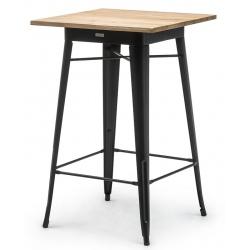 Table haute de restaurant Atelier en acier noir et plateau bois 70 x 70 cm