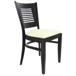 Chaise Amilly bois wengé et assise gallette simili cuir beige