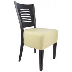 Chaise Amilly bois wengé et assise garnie simili cuir beige