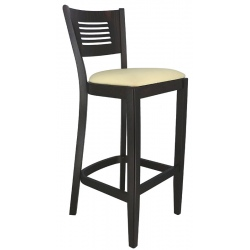 Tabouret de bar Amilly bois wenge et assise galette simili cuir beige