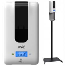 Station avec distributeur de savon ou gel automatique 1,2 L avec mesure de température