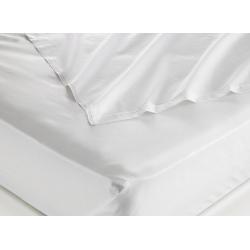 Taie d'oreiller 100% coton blanc 125 g portefeuille avec rabat et volant piqué 65x65 cm (le lot de 100)