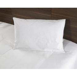 Taie d'oreiller i-care polycoton 33/67 blanc 130 g portefeuille avec rabat et volant piqué 55x75 cm (le lot de 10)