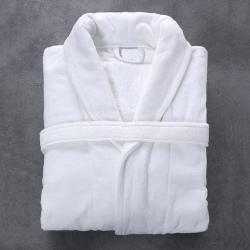 Peignoir Bien-être microfibre et coton blanc 300 g col châle taille M (le lot de 10)