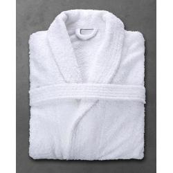 Peignoir Boucle 90% coton 10% polyester blanc 400 g col châle taille S (le lot de 10)