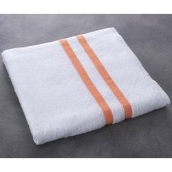 Drap de bain Luxe 100% coton blanc liteau saumon 400 g 70x140 cm (le lot de 40)