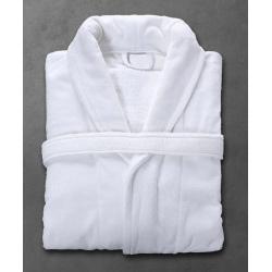 Peignoir Velours 100% coton blanc 450 g col châle taille M (le lot de 10)