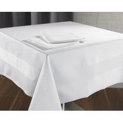 Napperon Satin 100% coton blanc 215 g 95x145 cm (le lot de 10)