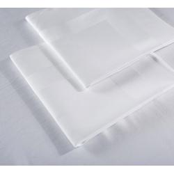 Serviette de table Satin 100% coton blanc 215 g 53x53 cm (le lot de 10)