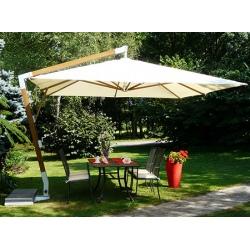 Parasol déporté Fibrasol Giens fibre de verre et polyester 350x350 cm
