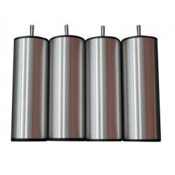 Pieds métal brossé H 17 cm pour sommiers (le lot de 4)
