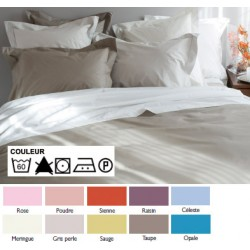 Lot de 3 draps plats 240x300 cm bourdon OS 4/4 percale 100% coton couleur