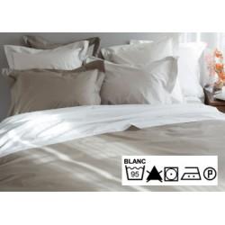 Lot de 3 draps plats 240x300 cm OS 4/4 percale 100% coton blanc