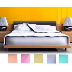 Lot de 12 draps plats polycoton couleur 280x320 cm