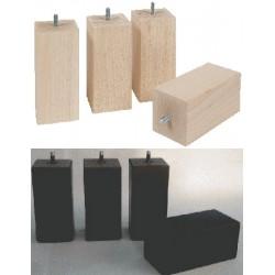 Pied bois carré section 7 cm h 15 cm wengé ou naturel