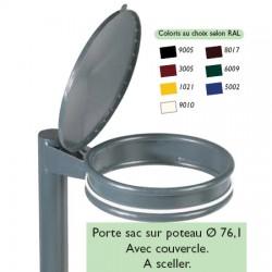 Porte sacs sur poteau ø 76 mm avec couvercle à sceller