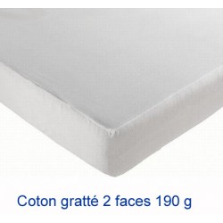 Lot de 10 protège-matelas drap housse coton gratté 2 faces 190g 90x190 cm