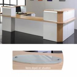 Top d accueil en verre depoli pour bureau d acceuil confort 29x50 cm