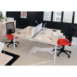 Bureau Futura poste double face suivant 120 cm pieds métal