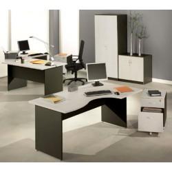 Bureaux compact Stratus L160xP80 cm retour à droite finition gris clair et anthracite