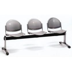 Siège poutre 2 places assise et dossier metal perfore epoxy noir
