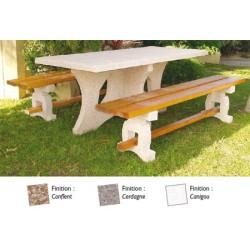 Table de pique nique Malaisie 190 cm et banquettes béton et bois