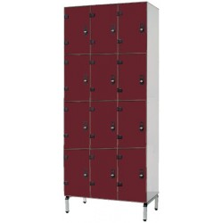 Vestiaire stratifié multicasiers 12 cases L120xP50,5xH192 cm