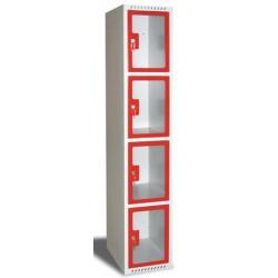Armoire multicases portes plexi 1 colonne 5 cases L40xP49xH180 cm