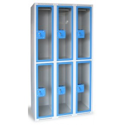 Armoire multicases portes plexi 3 colonnes 12 cases L120xP49xH180 cm