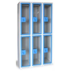 Armoire multicases portes plexi 3 colonnes 6 cases L120xP49xH180 cm