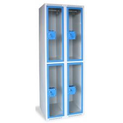 Armoire multicases portes plexi 2 colonnes 4 cases L80xP49xH180 cm